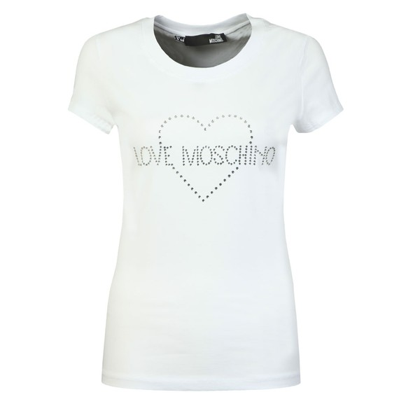 Love Moschino Womens White Diamante Heart Logo T Shirt