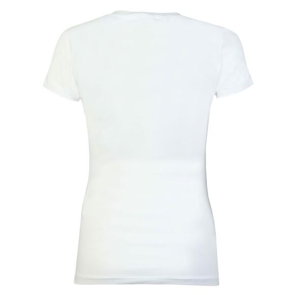 Love Moschino Womens White Diamante Heart Logo T Shirt main image