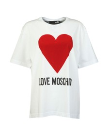 Love Moschino Womens White Flock Heart T Shirt