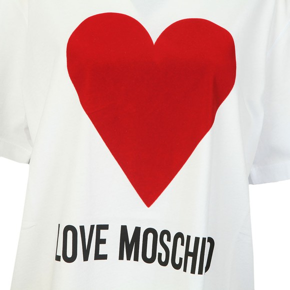 Love Moschino Womens White Flock Heart T Shirt main image