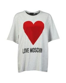 Love Moschino Womens Grey Flock Heart T Shirt
