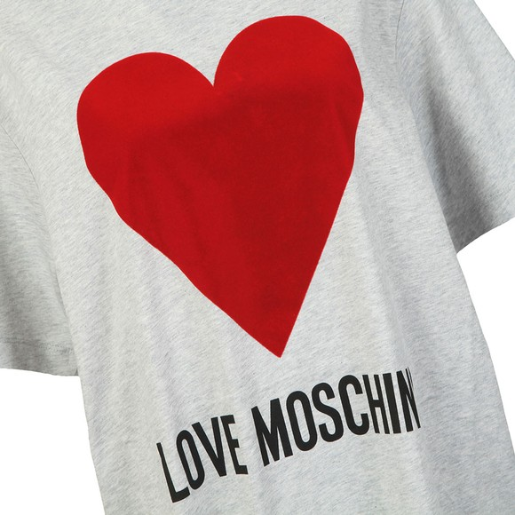 Love Moschino Womens Grey Flock Heart T Shirt main image