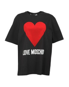 Love Moschino Womens Black Flock Heart T Shirt