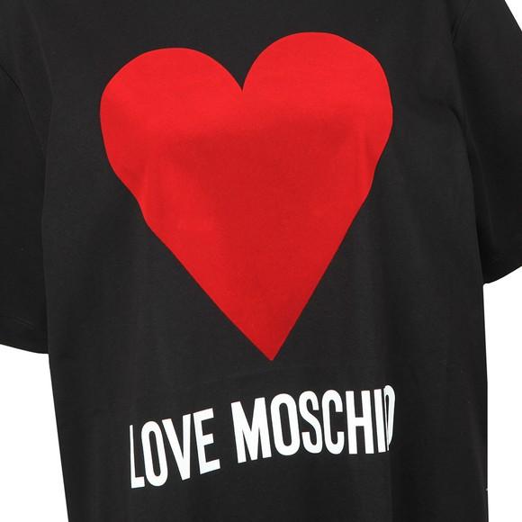 Love Moschino Womens Black Flock Heart T Shirt main image