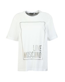 Love Moschino Womens White Metallic Box Logo T Shirt