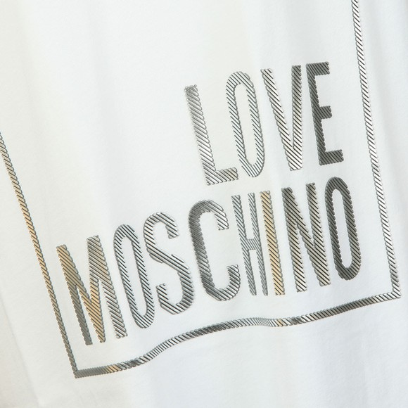 Love Moschino Womens White Metallic Box Logo T Shirt main image