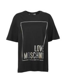 Love Moschino Womens Black Metallic Box Logo T Shirt