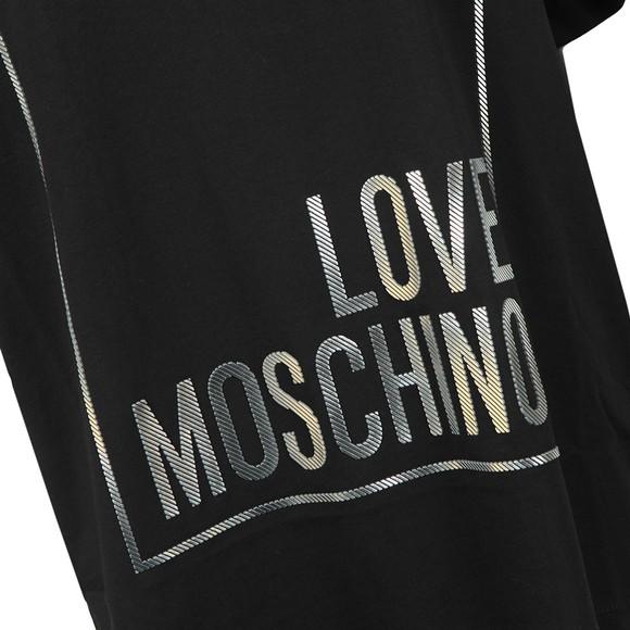 Love Moschino Womens Black Metallic Box Logo T Shirt main image