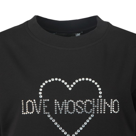 Love Moschino Womens Black Diamante Heart Logo Sweat  Dress