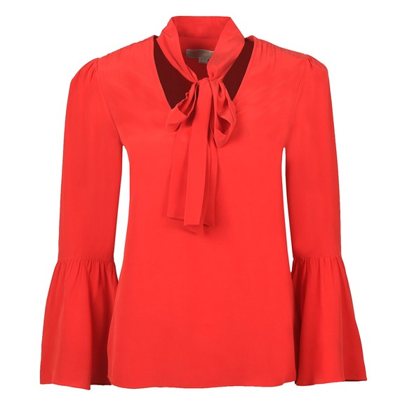 Michael Kors Womens Red Woven Shirt