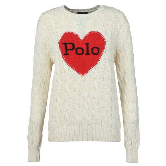 Polo Ralph Lauren Womens Off-White Love Heart Polo Knitted Jumper