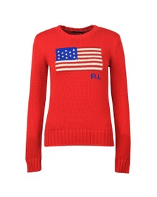 Polo Ralph Lauren Womens Red American Flag RL Knitted Jumper