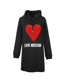 Love Moschino Womens Black Flock Heart Hoody