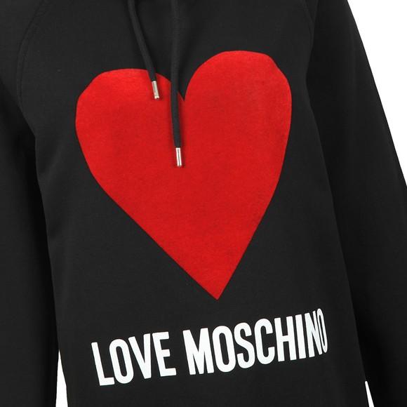 Love Moschino Womens Black Flock Heart Hoody