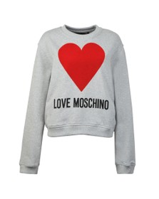 Love Moschino Womens Grey Flock Heart Sweatshirt
