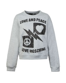 Love Moschino Womens Grey Sequin Logo Sweatshirt
