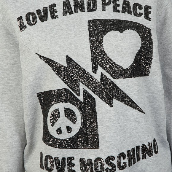 Love Moschino Womens Grey Sequin Logo Sweatshirt main image
