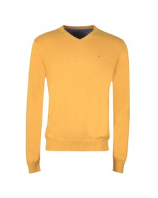 Fynch Hatton Mens Yellow V Neck Superfine Cotton Jumper