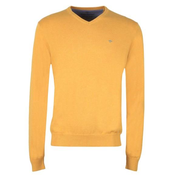Fynch Hatton Mens Yellow V Neck Superfine Cotton Jumper main image