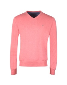 Fynch Hatton Mens Pink V Neck Superfine Cotton Jumper