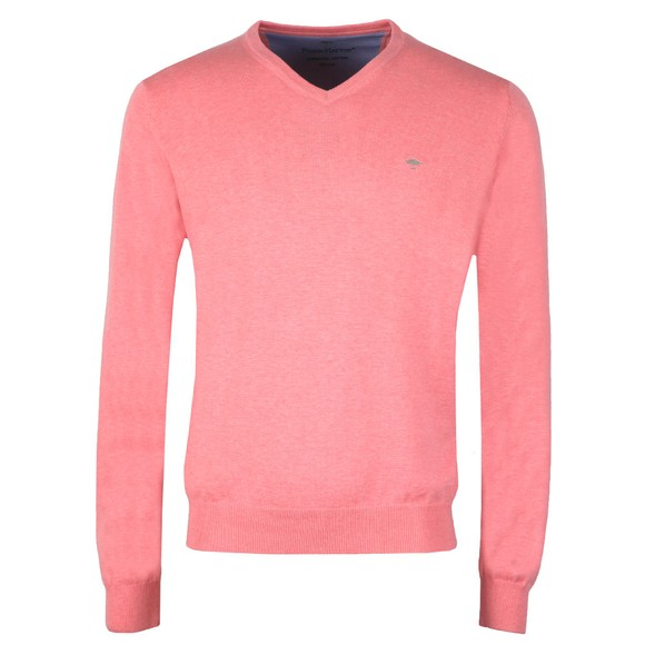 Fynch Hatton Mens Pink V Neck Superfine Cotton Jumper main image