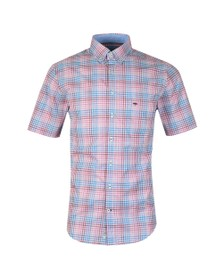 Fynch Hatton Mens Pink S/S Check Shirt