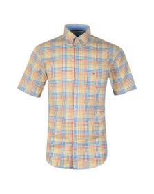 Fynch Hatton Mens Yellow S/S Check Shirt