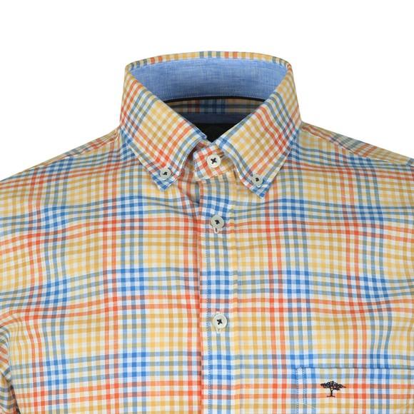 Fynch Hatton Mens Yellow S/S Check Shirt main image
