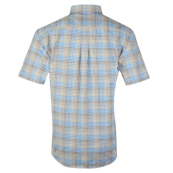 Fynch Hatton Mens Brown S/S Check Shirt main image