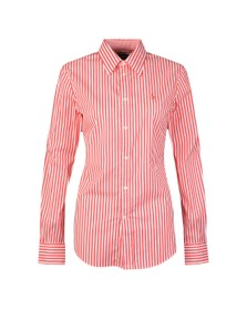 Polo Ralph Lauren Womens Red White Multi Stripe Long Sleeve Shirt