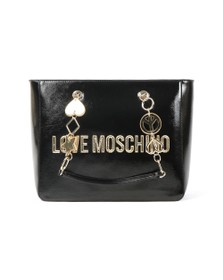 Love Moschino Womens Black Metallic Logo Bag