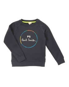 Paul Smith Junior Boys Blue Neon Zebra Line Crew Sweatshirt
