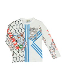 Kenzo Kids Boys White Gibson Japanese Dragon T Shirt