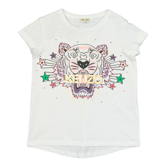 Kenzo Kids Girls White Stars And Spots Tiger T Shirt