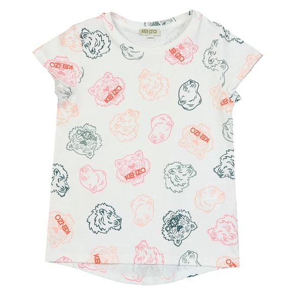 Kenzo Kids Girls White Greta Crazy Jungle T Shirt