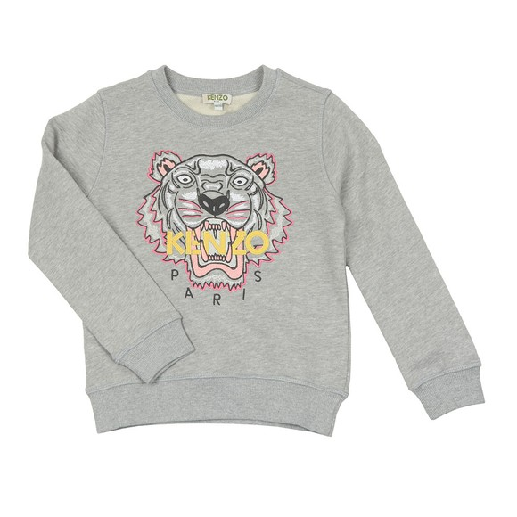 Kenzo Kids Girls Grey Embroidered Tiger Sweatshirt