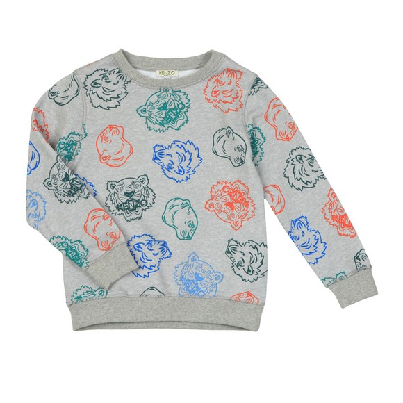 Kenzo Kids Boys Grey Georges Crazy Jungle Crew Sweatshirt