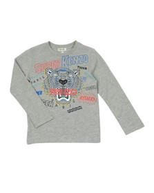 Kenzo Kids Boys Grey Super Kenzo Tiger T Shirt