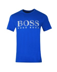 BOSS Bodywear Mens Blue Regular Fit Large Logo T Shirt