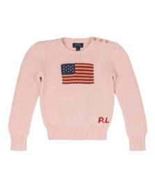 Polo Ralph Lauren Girls Pink Crew Neck Flag Jumper