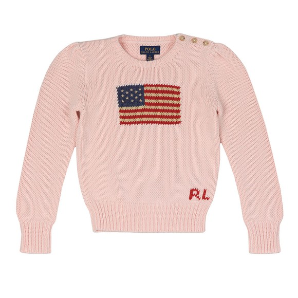 Polo Ralph Lauren Girls Pink Crew Neck Flag Jumper