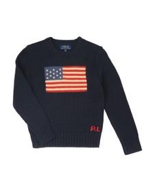 Polo Ralph Lauren Boys Blue Boys Flag Crew Knitted Jumper