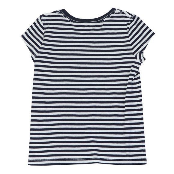 Polo Ralph Lauren Girls Blue Girls Stripe Logo T Shirt