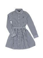 Girls Belted Stripe Shirt Dress