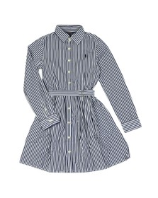 Polo Ralph Lauren Girls Blue Girls Belted Stripe Shirt Dress