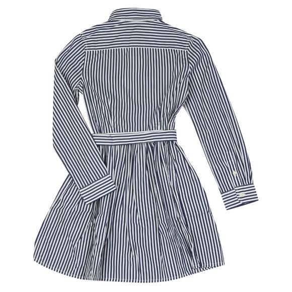Polo Ralph Lauren Girls Blue Girls Belted Stripe Shirt Dress main image