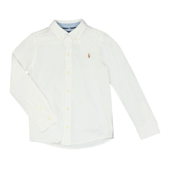 Polo Ralph Lauren Boys White Long Sleeve Knit Oxford Shirt