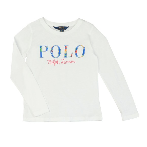 Polo Ralph Lauren Girls White Girls Long Sleeve Logo T Shirt