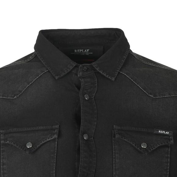 Replay Mens Black Hyperflex Denim Shirt main image