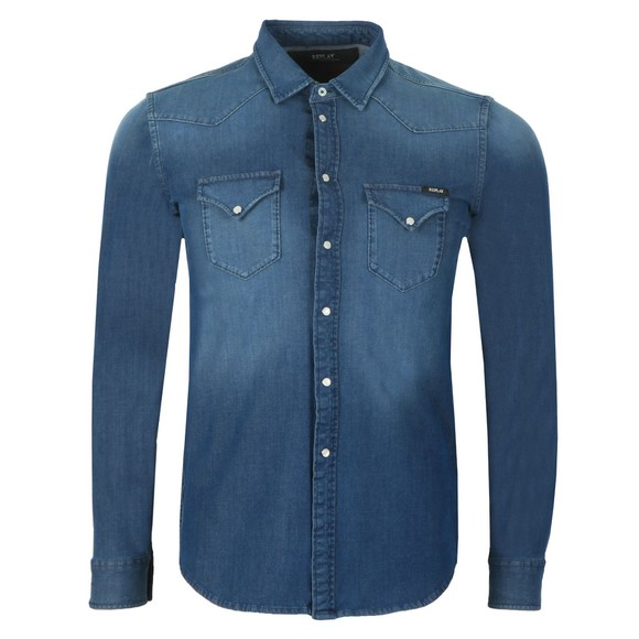 Replay Mens Blue Hyperflex Denim Shirt main image